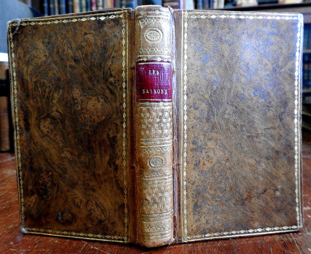 The Seasons 1813 Thomson French Poetry fine leather book 6 engraved plates