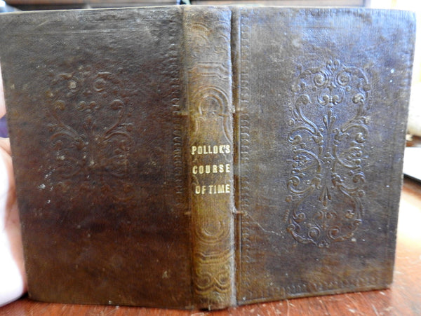 Course of Time 1830 Robert Pollok Religious Poem decorative gift leather book