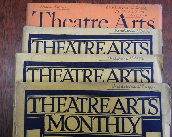 Madeleine L'Engle signed Theater Arts 1924-44 Monthly magazines Lot x 4