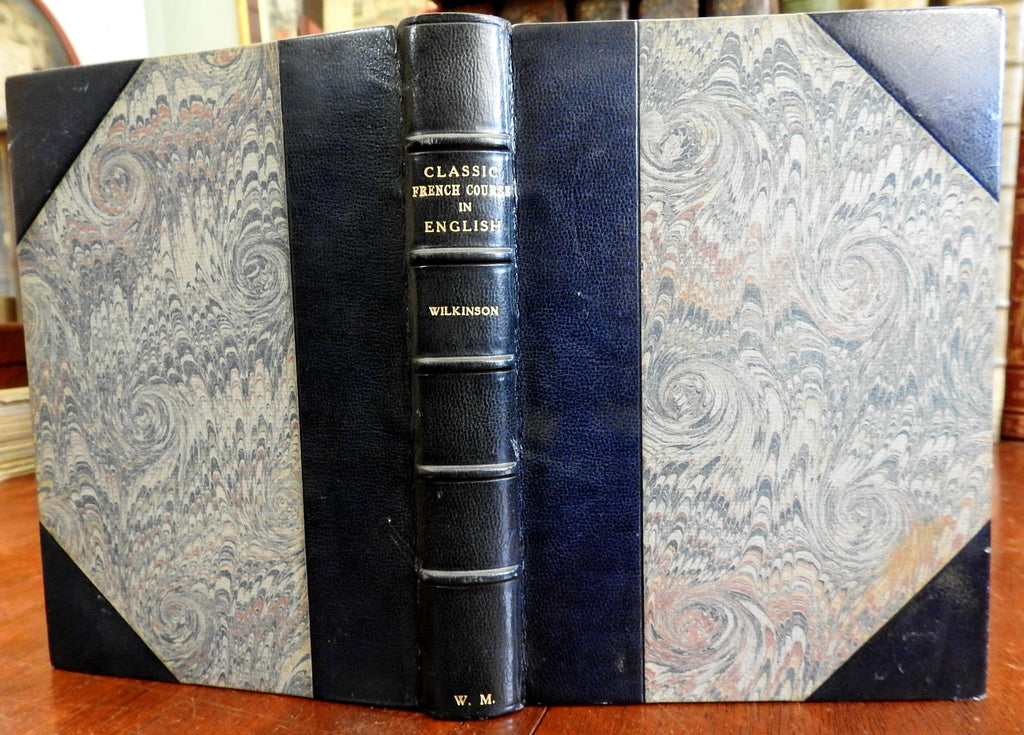 French Course in English 1890 William Cleaver Wilkinson Stikeman leather binding