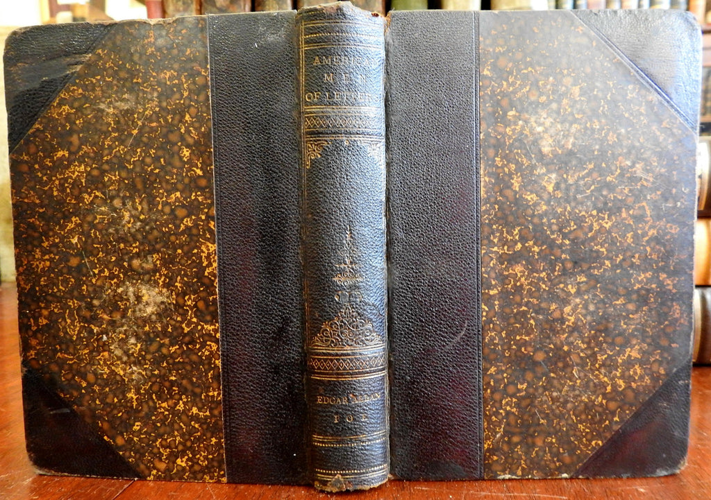 Edgar Allan Poe biography 1885 Woodberry leather book w/ engraved portrait