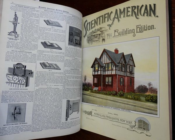Scientific American 1899 Home Building architecture 12 issues color covers book