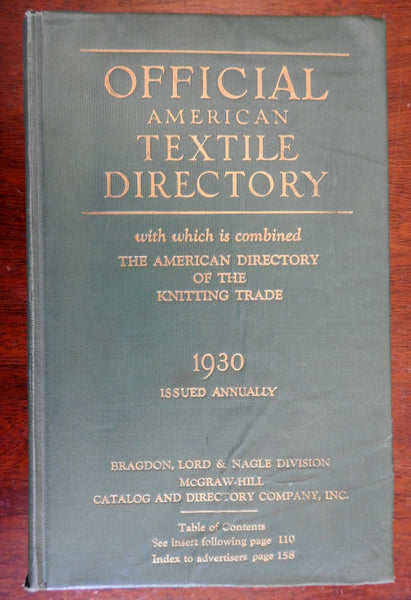 Official American Textile Directory for 1930 monumental advertising trade book