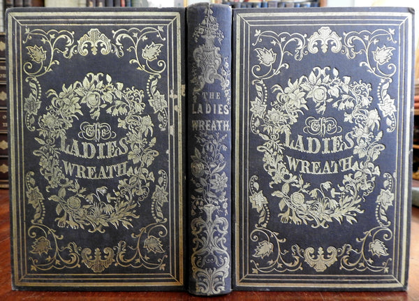 Ladies' Wreath 1849-50 gilt gift book w/ 12 hand colored floral plates 24 plates