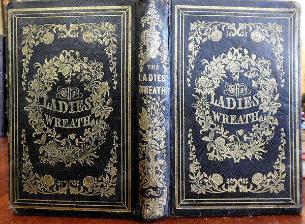Ladies' Wreath 1852 gift leather book w/ 12 hand color floral prints 24 plates