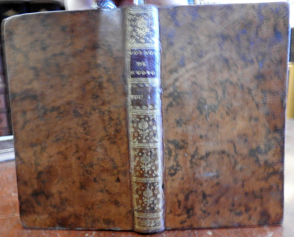 Voyage to Hudson Bay 1749 Henri Ellis old French leather book exploration travel