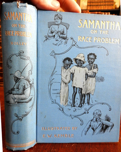 Samantha on Race Problem 1892 Marietta Holley Kemble illustrated children's book