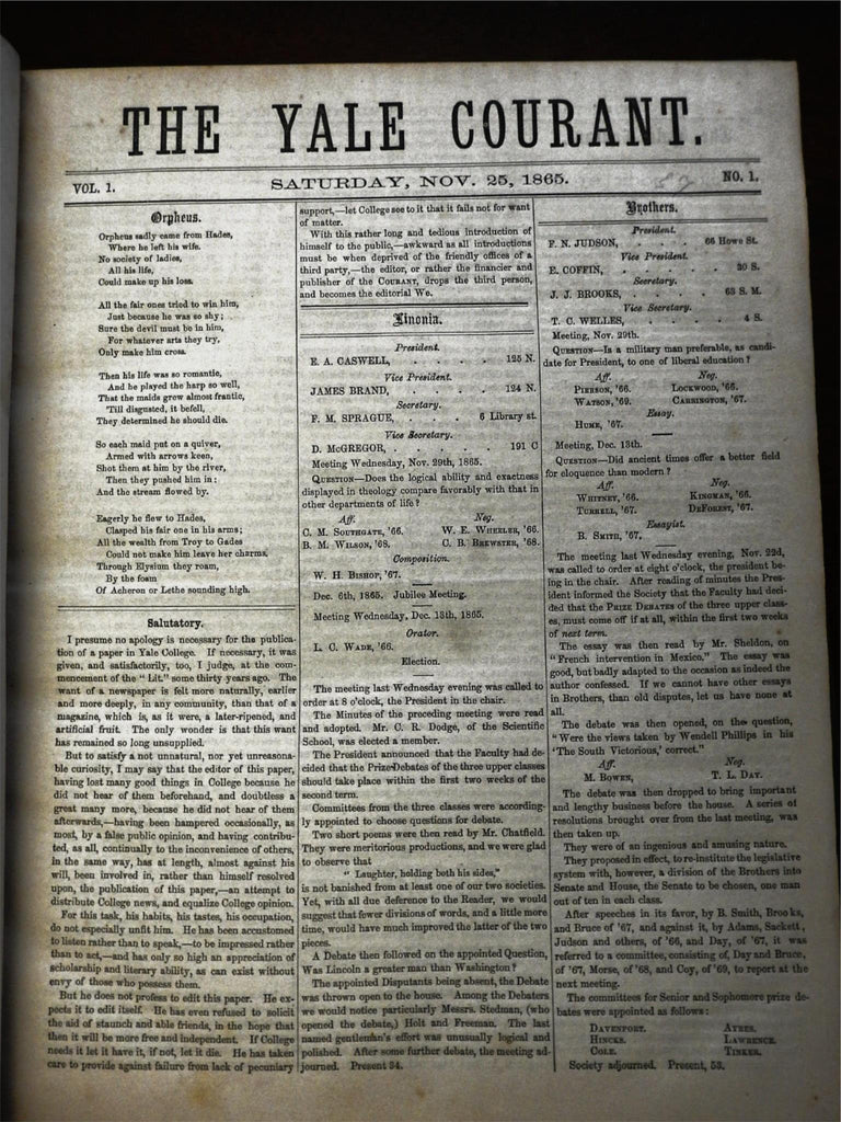 Yale University Courant campus newspaper 1865-7 complete 70 issue run large book