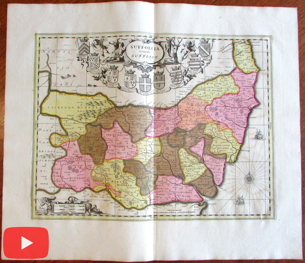 Suffolcia Suffolk Ipswich England U.K. Britain c.1700 old antique color map