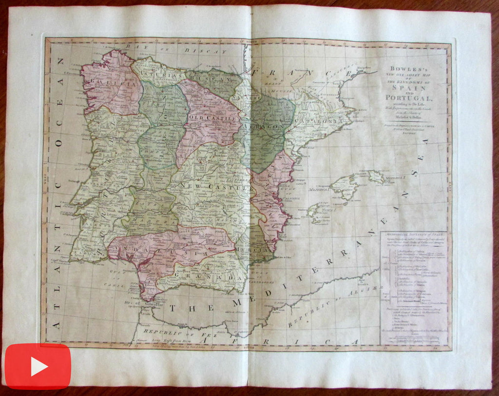 Spain Portugal Catalonia Aragon Granada Barcelona Madrid c. 1800 old antique map