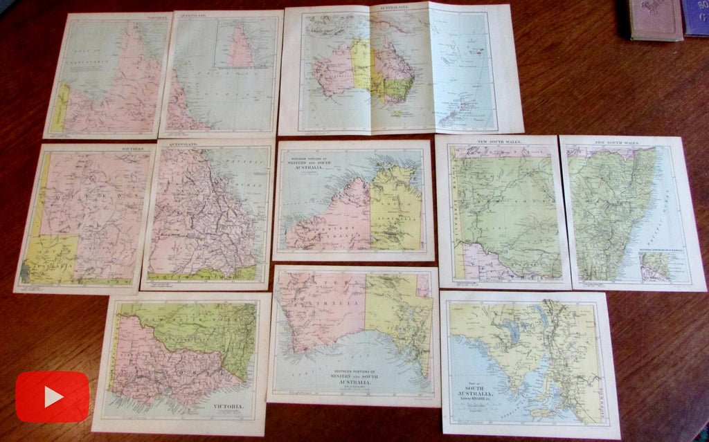 Australia 1889 Maclure lot x 11 old color lithographed maps scarce pairs