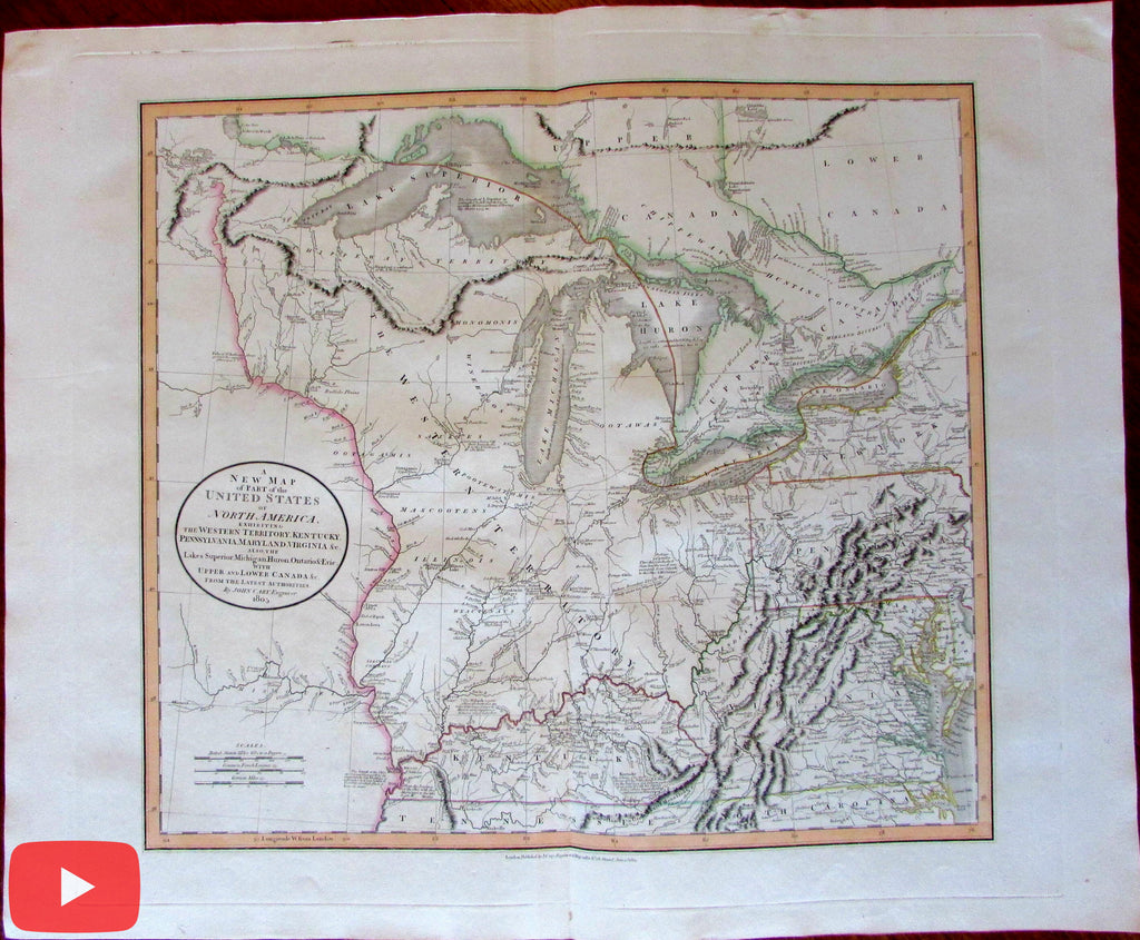 North America Western Territory Kentucky 1805 John Cary lovely large old map