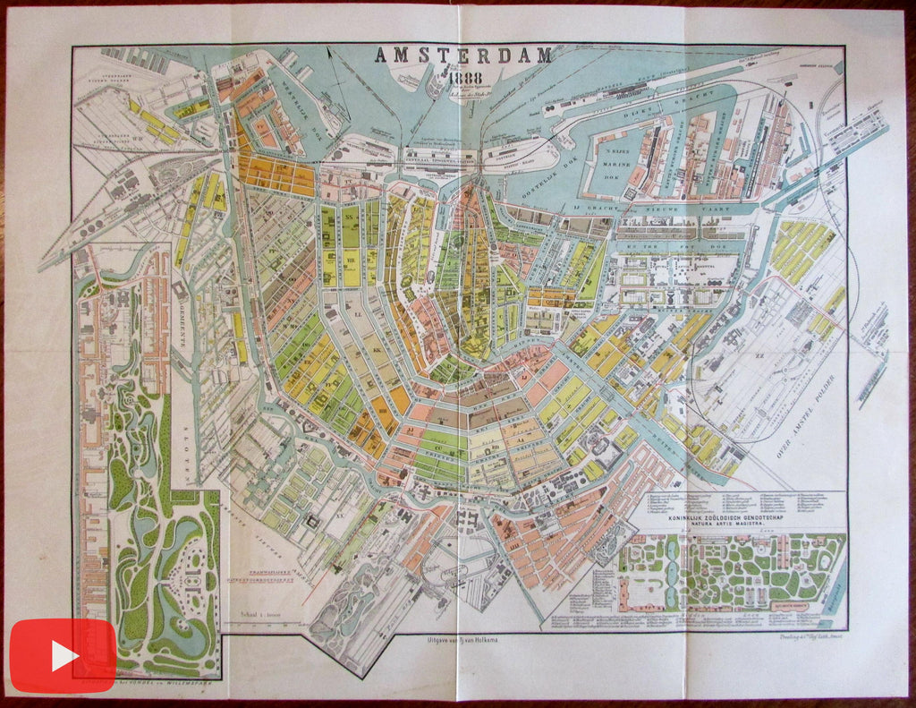 Amsterdam city plan 1888 large map rare van der Stok Van Holkema