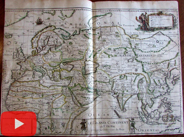 Africa Europe Asia India China 1679 DuVal World map rare folio sheet