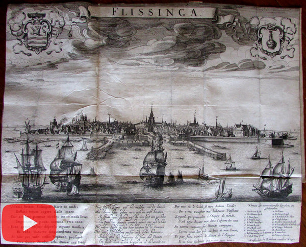 Vlissingen Flissinga c.1640 lot x 2 maps Hoeye prospect city view Guicciardini