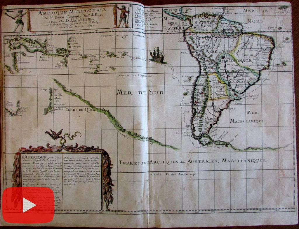 South America New Zealand Australia 1679 Duval World map Southern Continent