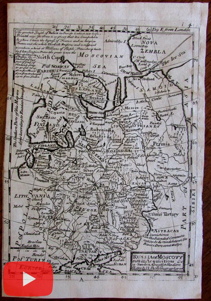 Russia Moscovy Finland c. 1725 Moll antique map Ukraine Lapland Crimea