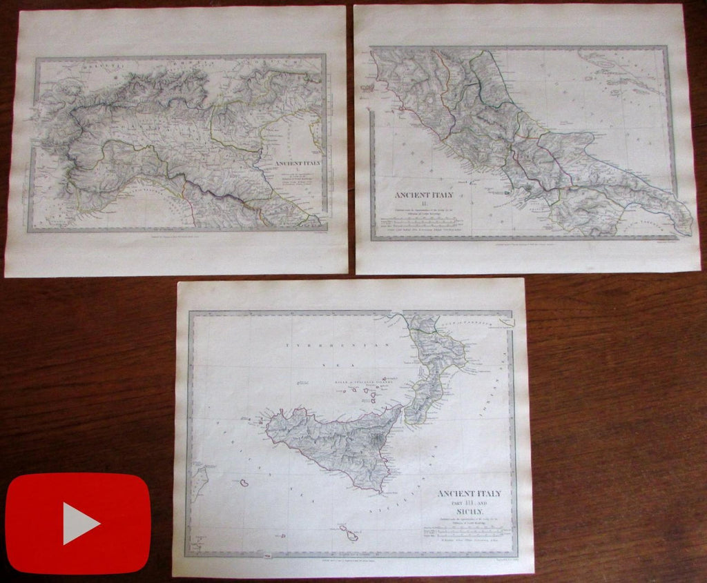 Ancient Italy 3 maps lot 1830-32 J.C. Walker engraved SDUK Roman Empire