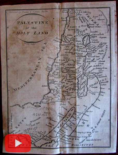 Amos Doolittle 1796 Holy Land map Palestine engraved scarce Samaria