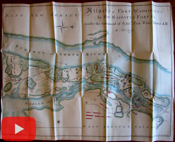 New York Fort Washington battle map Genrl. Howe 1861 Revolution hand color