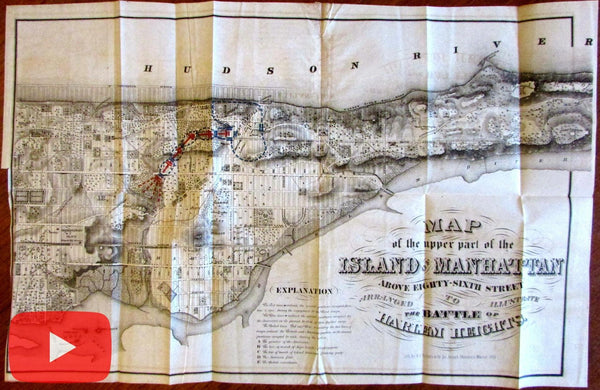 Manhattan New York City Revolutionary War map 1868 Harlem Heights 1776