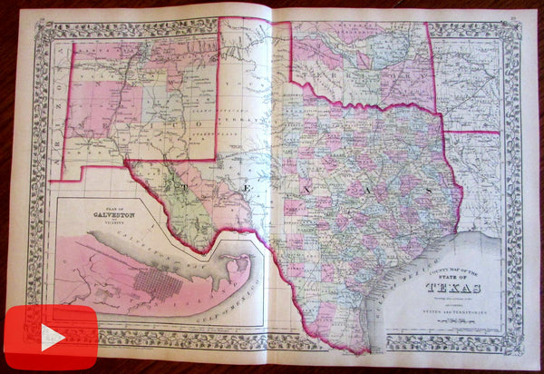 Texas & Galveston 1873 S.A. Mitchell large folio state map decorative w/ hand color