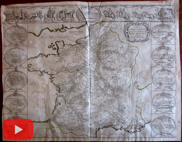 Postal Route Map c. 1640 Bery Langlois carte-a-figures 11 city views rare map