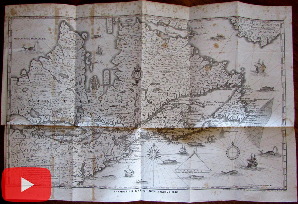 Champlain New France 1632 Pease lithographic re-issue 1850 map Canada