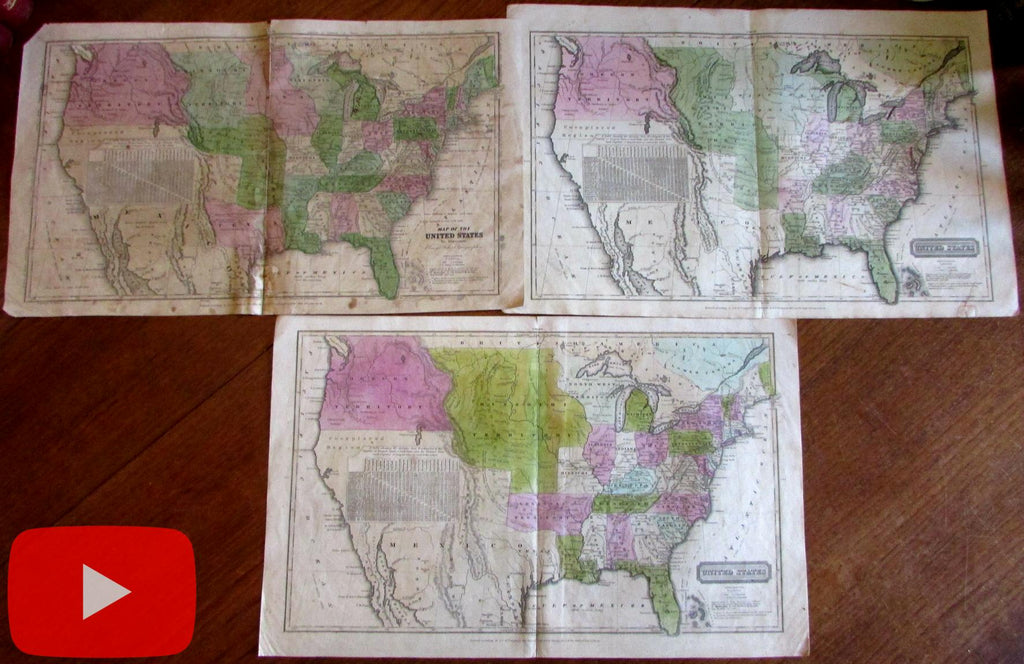 United States Territorial shifts c.1828-1830's Robinson Lot x 3 fascinating maps