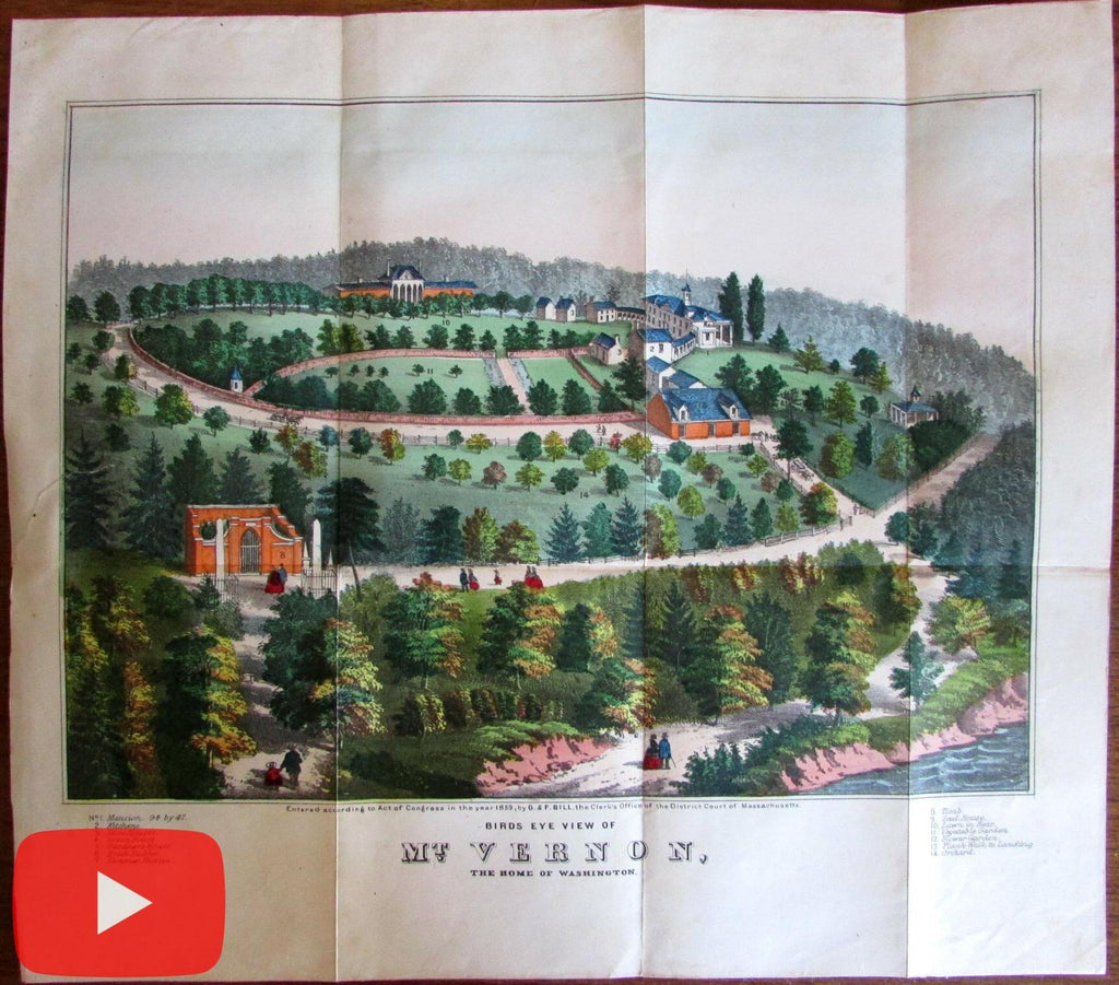 Mount Vernon VA birds-eye view 1859 George Washington mansion grounds color
