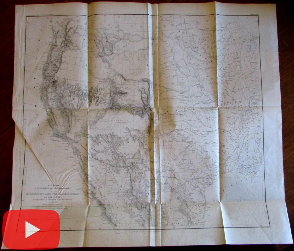 Emory U.S. Map Mississipi to Pacific 1857-8 American West Wheat #915