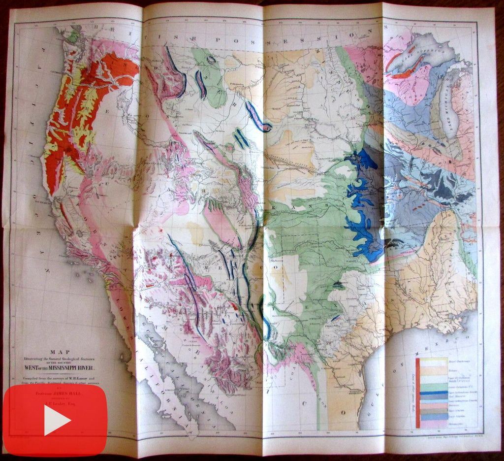 Emory Geological Map West of Mississippi 1857 Jekyll Hall large folio beautiful