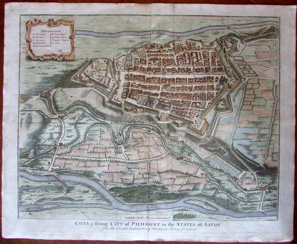 Cony Piedmont State of Savoy Italy Italia c.1740 Basire engraved city plan map