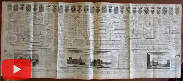 Chatelain 1720 Royalty chart France French Kings Louvre museum views print