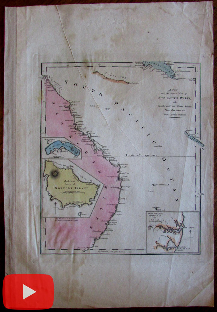 Australia New Holland New South Wales c.1814 Gridley Carey rare map Norfolk isle