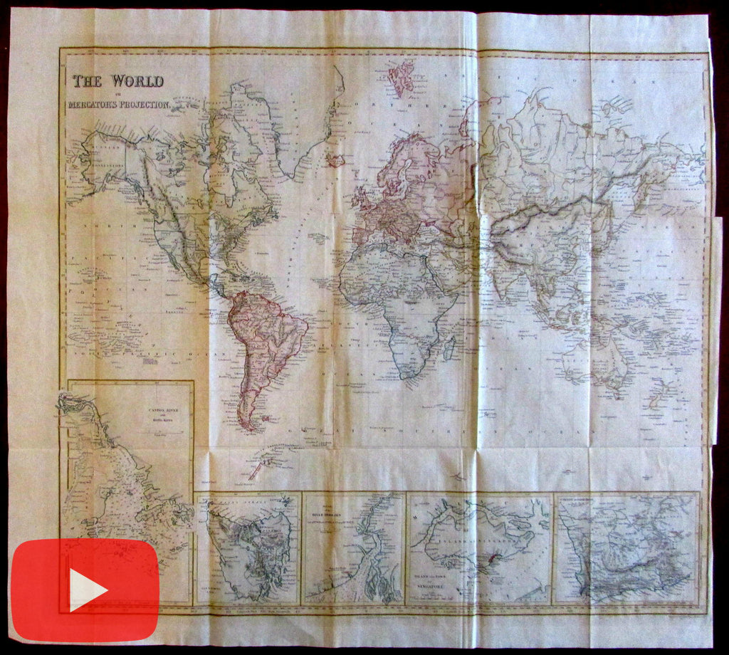 World Map 1846 insets Singapore island Canton river Van Diemen Hoogly So. Africa