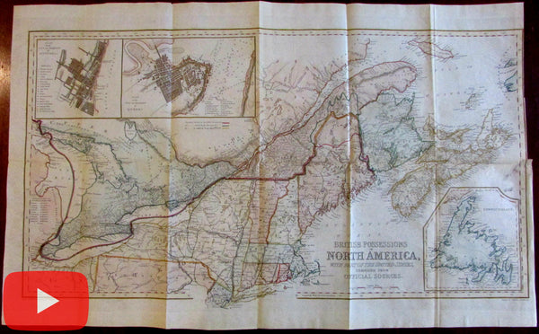 British Possessions North America Canada 1846 large bond paper map city plan insets