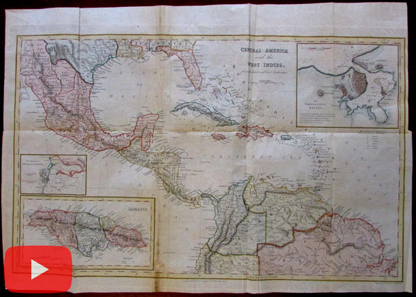 Caribbean Central America Havana Cuba city plan 1846 large bond paper map