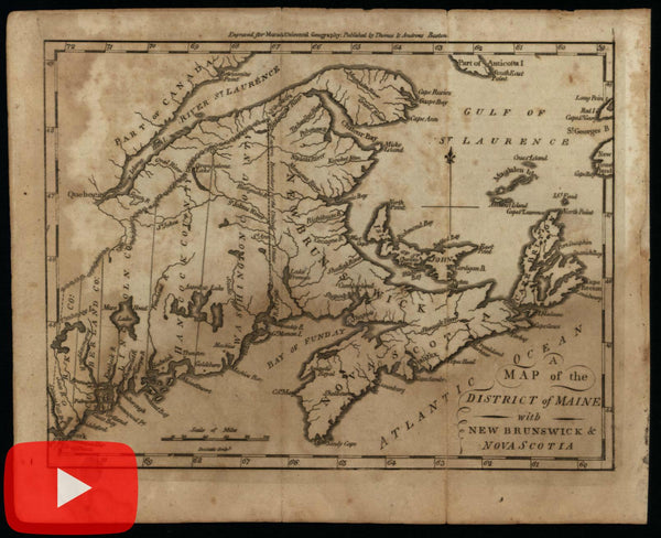 Maine state 1796 as District Amos Doolittle early rare American map Canada maritimes