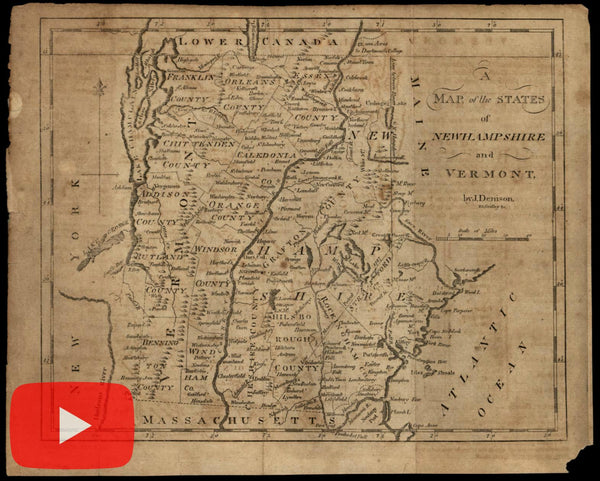 New Hampshire Vermont c.1796-1805 Gridley Denison Morse rare engraved map