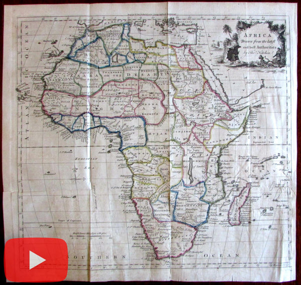Africa 1771 Kitchin large Guthrie decorative cartouche map man-eaters gold mines