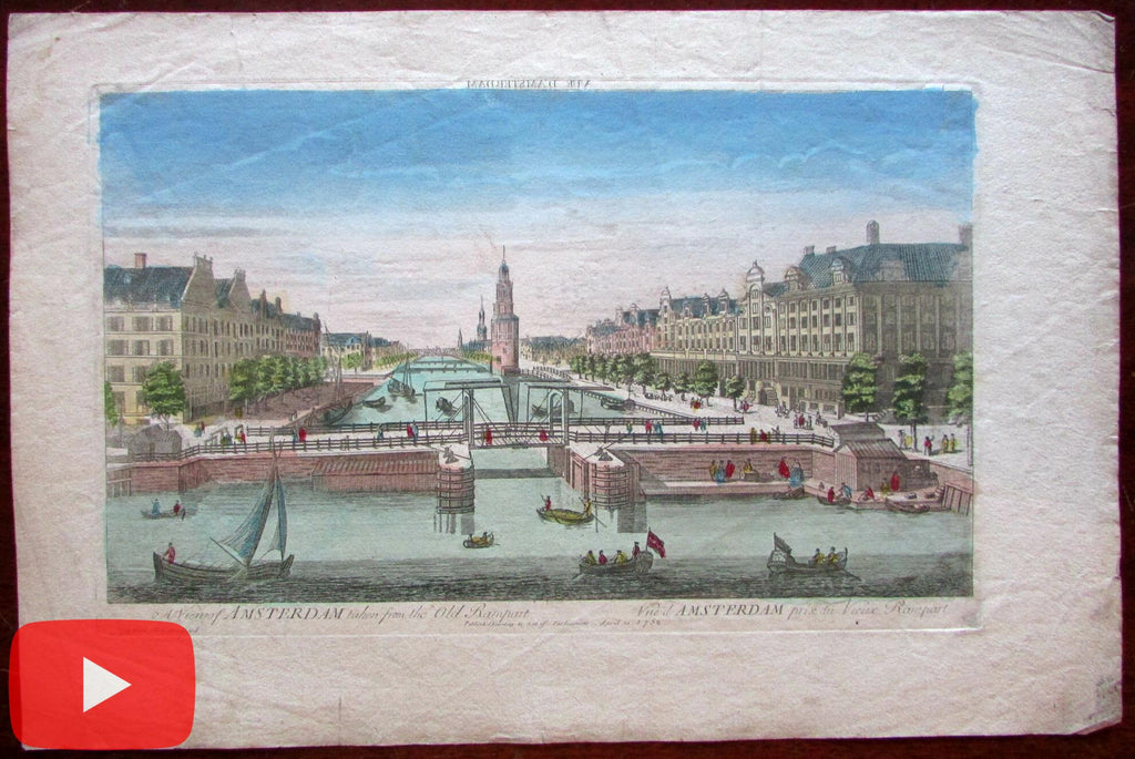 Amsterdam prospect view Montelbaanstoren 1752 canal print vue d'optique city view