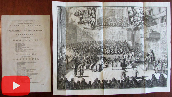 British Parliament large 1741 engraved view print Covens & Mortier Hooge w/ key sheet