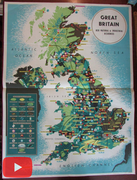 Pictorial map Great Britain Industry Products 1955 poster size ships food U.K.