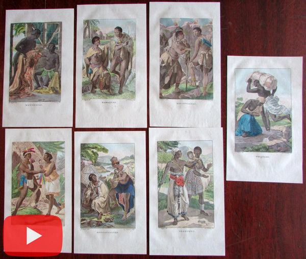 African ethnography native types 1836 scarce Dutch prints lot of 7 original hand color