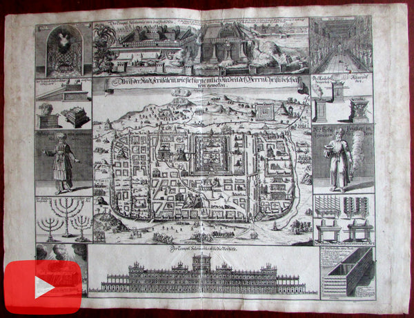 Jerusalem city plan Holy Land c.1720 large decorative scenes map Judaism pictorial