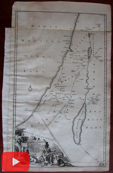 Holy Land 1714 Roman Miles decorative vignette map by Reland Laor #653