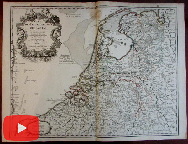 United Provinces Netherlands Holland Pays Bas 1702 de L'Isle decorative map