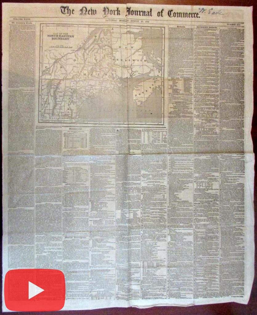 Maine state Northern Border Dispute 1842 newspaper map Webster settlement