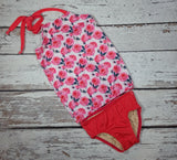 L Tod Pink Roses - Halter Swimsuits $35